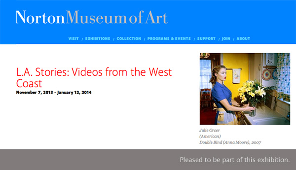"Exhibition announcement for ""L.A. Stories: Videos from the West Coast"" at Norton Museum of Art West Palm Beach' FL"